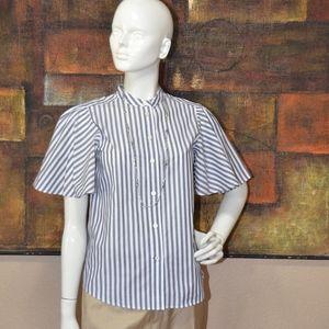 Kate Spade Broome Street Stripe Flutter Sleeve Top